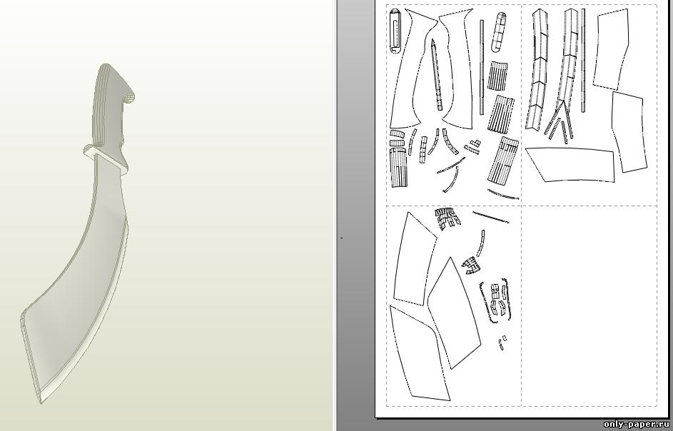 Как сделать из бумаги штык нож 890