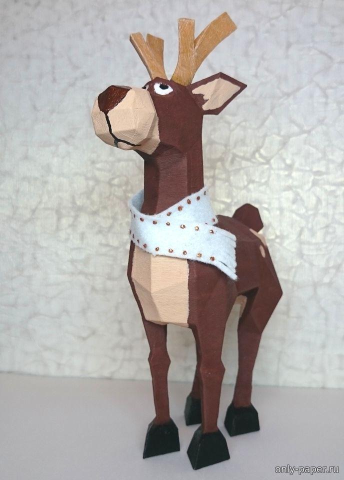 Объемный олень из бумаги своими руками шаблоны   Объемный конструктор из картона для детей 164