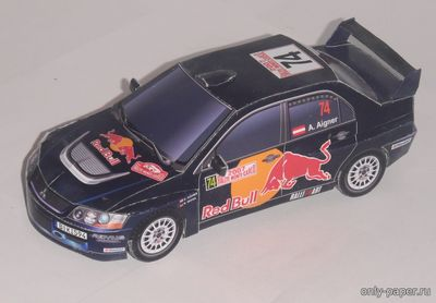 Бумажная модель Mitsubishi Lancer Evolution IX (Rallye Monte-Carlo 2007, Red Bull Rallye Team #74)