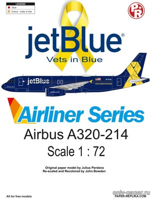 Бумажная модель Airbus A320-214 jetBlue Vets in Blue (Переработка Paper-Replika)