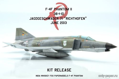 Бумажная модель Luftwaffe F-4F Phantom II in JG71 38+10 (India Whiskey Fox Papermodels)