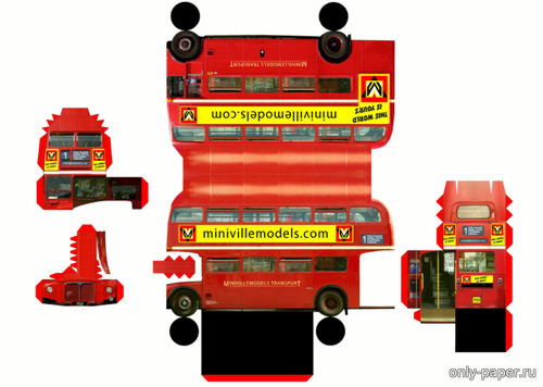 Бумажная модель Routemaster Bus (MiniVille Models)