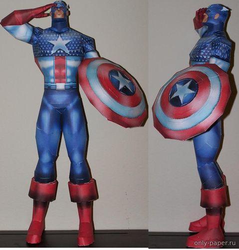 Модель фигурки капитана Америка из бумаги/картона