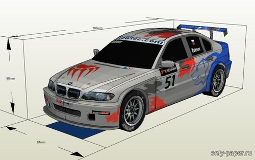Бумажная модель 2007 BMW 320i WTCC E46 Russian Bears Motorsport (Atlantic3D)