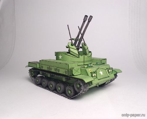 "Бумажная модель Twin 40mm Self-propelled Gun M42 ""Duster"" (O&Co. Paper Models)"