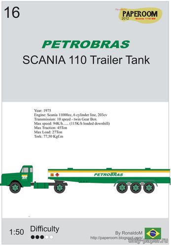 Бумажная модель Scania 110 trailer fuel tank (Paperoom)