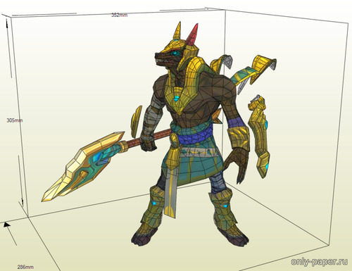 Бумажная модель Nasus, the Curator of the Sands (League of Legends)