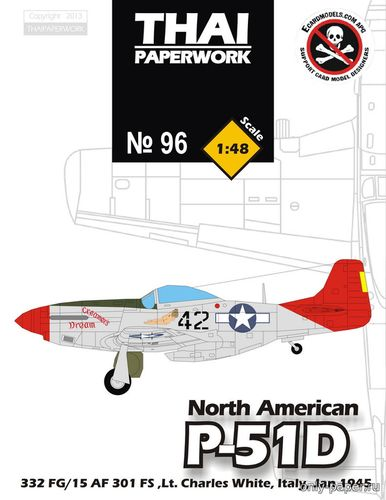 Бумажная модель North American P-51D Mustang - Creamer's Dream (Thai Paperwork 96)