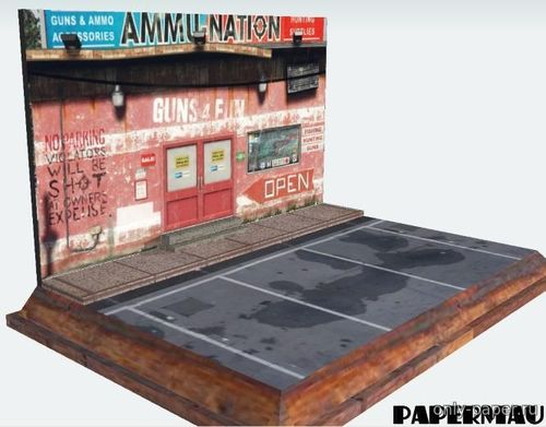 Бумажная модель GTA V - Ammu-Nation Gun Shop Stand