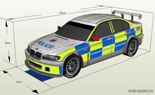 Бумажная модель BMW 320i E46 Gloucestershire Police Roads Policing Unit ANPR Intercept Car [Atlantic3D]