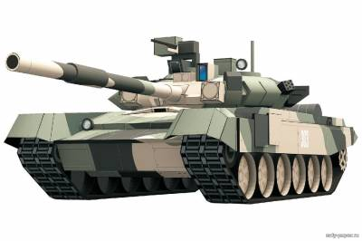 Модель танка Т-90 из бумаги/картона