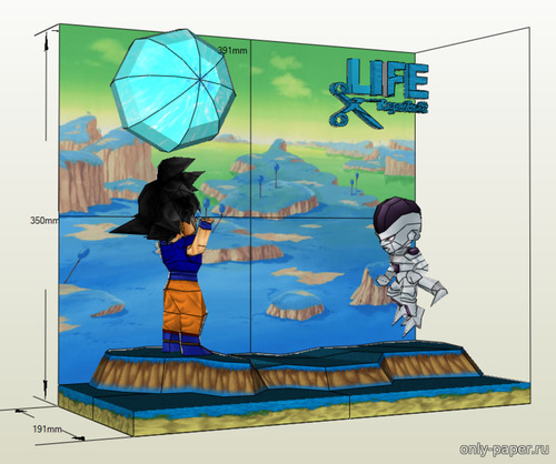 Бумажная модель DRAGONBALL – CHIBI GOKU VS FREEZE DIORAMA
