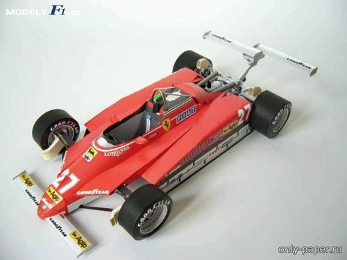 Бумажная модель Ferrari 126C2 G.Villeneuve USA West GP 1982 (Modelik 12/2012)