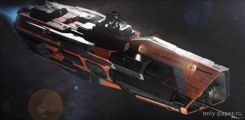Бумажная модель The Expanse: MCRN Scipio Africanus, Morrigan Class (Cheesy Wotsit)