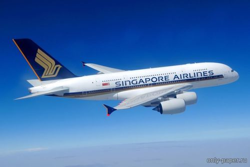Бумажная модель Airbus A380-800 Singapore Airlines (Hermercraft)