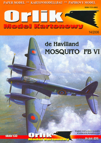 Бумажная модель De Havilland Mosquito FB VI (Orlik 036)