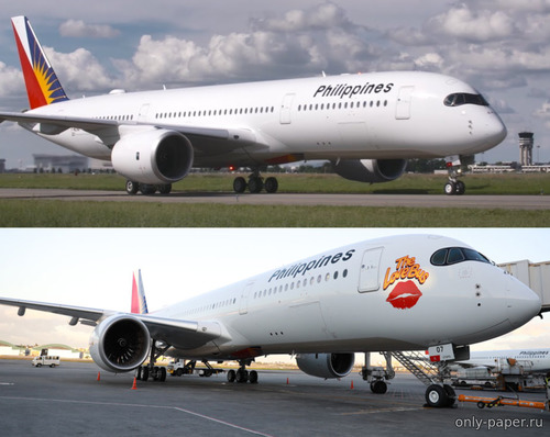 "Бумажная модель Airbus A350-900 Philippine Airlines & Philippine Airlines ""Love Bus"""
