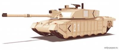 Модель танка Challenger 2 из бумаги/картона