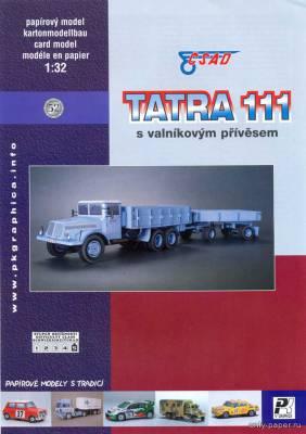 Модель грузовика Tatra 111 с прицепом из бумаги/картона