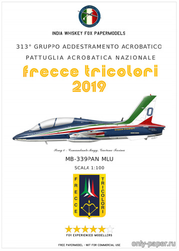 Бумажная модель Italian Air Force Frecce Tricolori Aermacchi MB-339 PAN (India Whiskey Fox Papermodels)