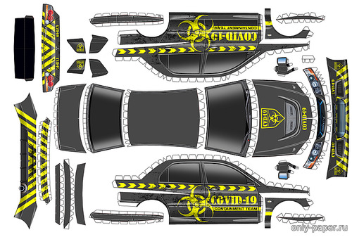 Сборная бумажная модель Mitsubishi Lancer Evolution IX COVID-19 Containment Team