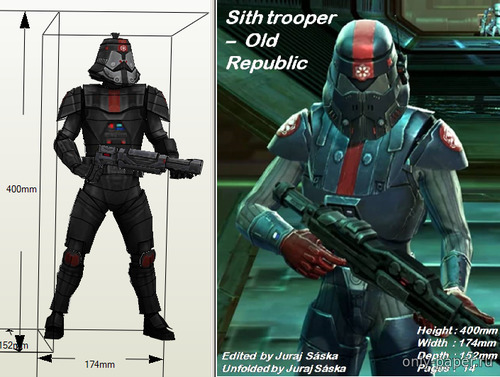 Бумажная модель Sith trooper - Old Republic - Star Wars