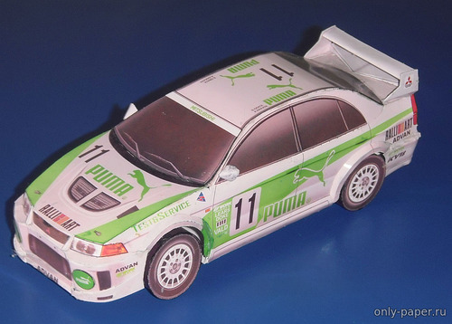 Бумажная модель Mitsubishi Lancer Evo V - Rally Super Taikyu Series Japan #11 (Перекрас Vimos 01)