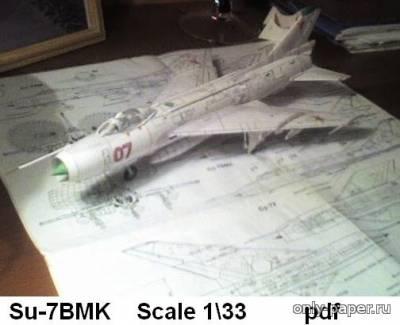 Модель самолета Су-7БМК из бумаги/картона