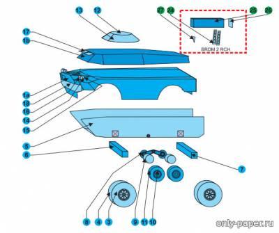 Модель БРДМ-2 из бумаги/картона