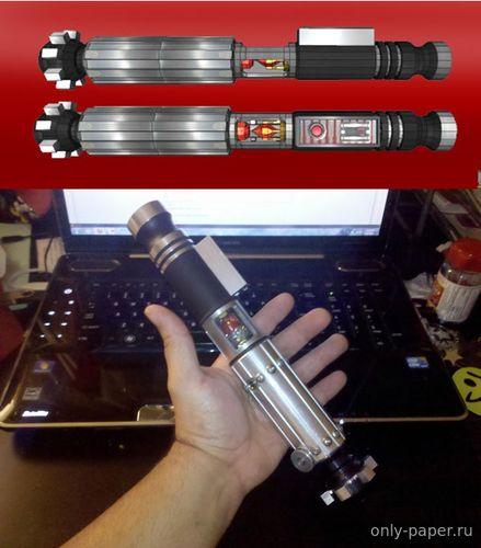 Модель лазерного меча ситхов из бумаги/картона