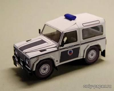Модель полицейского внедорожника Land Rover Defender 90 из бумаги