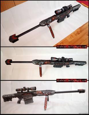 Модель снайперской винтовки Barrett M82A1 Born Beast из бумаги/картона