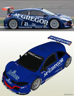 Сборная бумажная модель Megane Trophy 2009 Mike Verschuur Team McGregor (PH3DM)