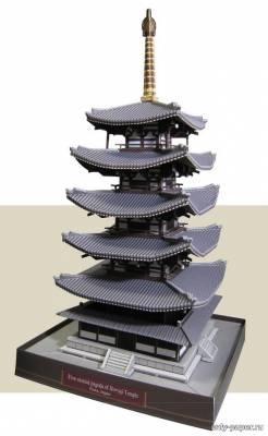Модель пятиярусной пагоды храма Хорю-дзи из бумаги/картона