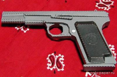 Модель пистолета ТТ-33 из бумаги/картона