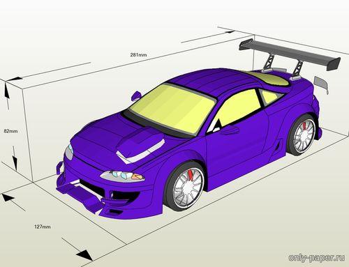 Модель автомашины Mitsubishi Eclipse из бумаги/картона