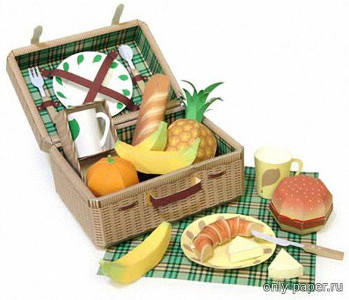 Модель набора для пикника из бумаги/картона