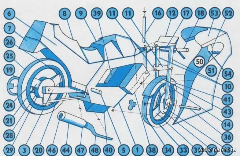 Как из бумаги сделать мотоцикл схема 50