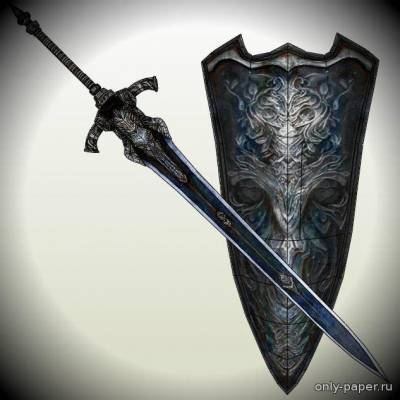 Бумажная модель Dark Souls - Greatsword And Shield Of Artorias