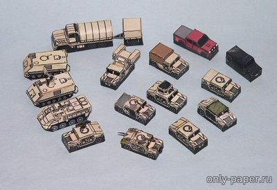 Бумажная модель US Army And USMC Vehicles Set [PR Models]