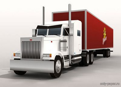 Бумажная модель Peterbilt 379 Semi Truck and Borden Trailer (Paper-Replka)