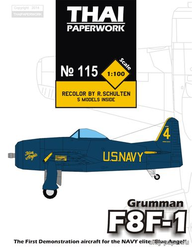 Бумажная модель Grumman F8F-1 Blue Angel [ThaiPaperwork 115]