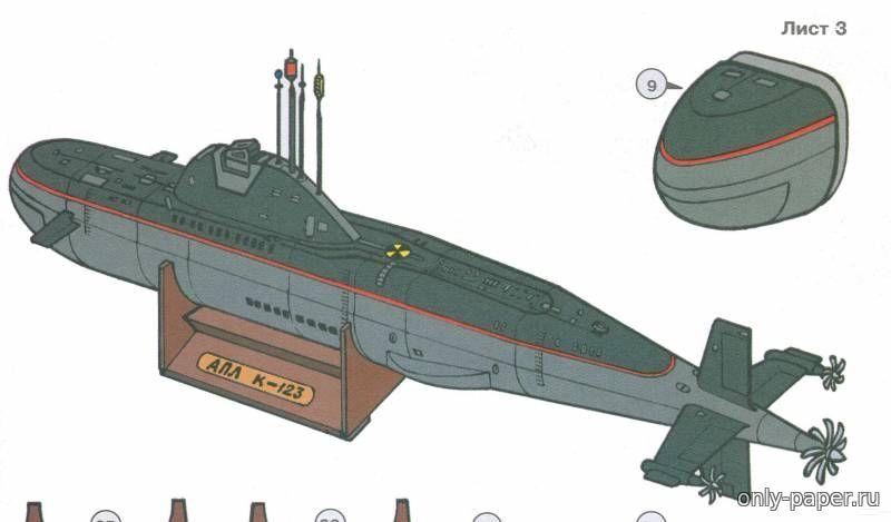 чертежи моделей подводной лодки из бумаги