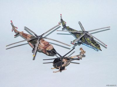 Бумажная модель Mi-17, Mi-35, MD530 Defender - Afghan National Army Helicopters Set (PR Models)