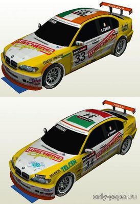Бумажная модель 2007 BMW 320i WTCC E46 Wiechers Sport ##33&34 [Atlantic3D]