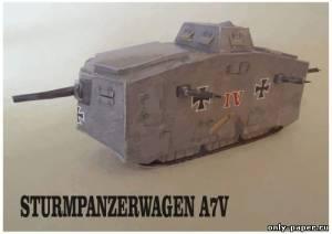 Модель танка A7V из бумаги/картона