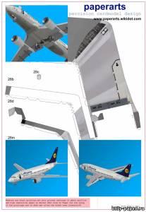 Модель самолета Boeing 737-500 из бумаги/картона