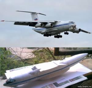 Модель самолета Ил-76ТД из бумаги/картона