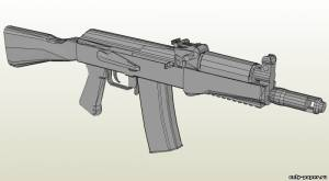 Модель укороченного автомата Калашникова АК-9 из бумаги/картона