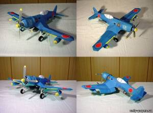Модель самолета Nakajima Ki-44 Shoki из бумаги/картона